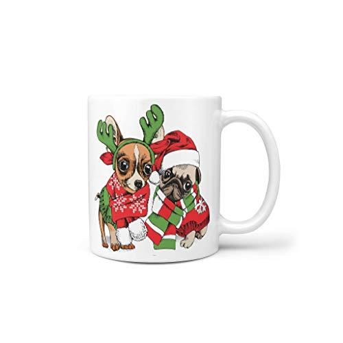 O5KFD&8 11 Oz Christmas Flower Animal Wasser Kaffee Tasse mit Griff Keramik Personalize Becher - Freunde, Restaurant verwenden White 330ml
