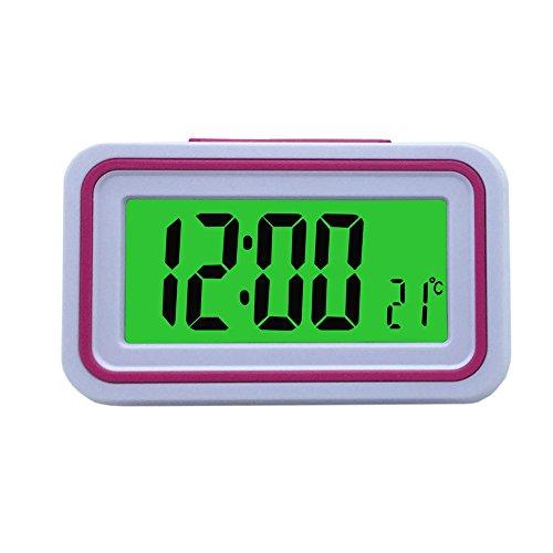 VSONE Reloj Despertador Parlante en Español, Alarma LCD con Voz, Reloj Hablando (Blanco y Rosa)