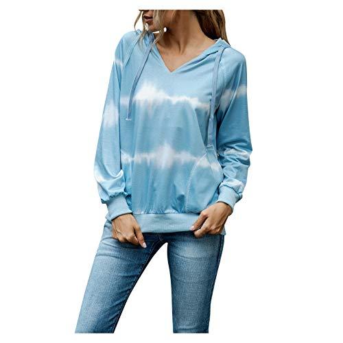 Damen Sweatshirt Herbst Casual Langarm Bedruckt Hooded Patchwork Top Bluse T-Shirt