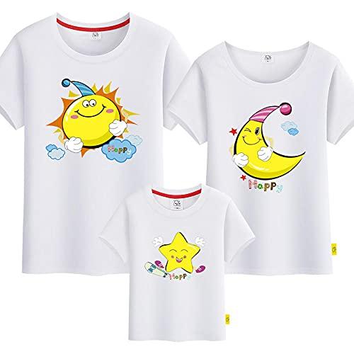 SANDA Madre E Hija,Hombre y Femenino Estrella de Manga Corta Sol para Padres-niño instalación de Color sólido Camiseta-Blanco_NIÑOS 150