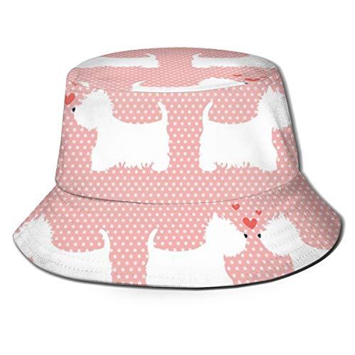 Unisex Sommer Eimer Hut Niedliche West Highland Terrier Paare mit Herzen Polka Dot Printed Sunshade Fisherman's Cap
