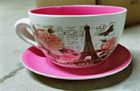 hadaaya gifts & home decor Paris Themed Teacup Shaped Planter with Pink Saucer Decorative, Shabby Chic, Floral Design, Ceramic Showpiece