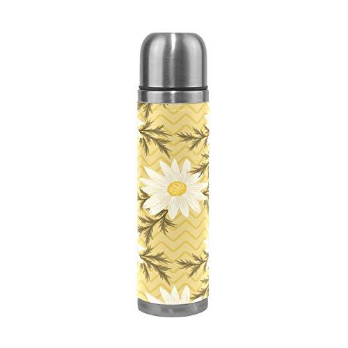 Ffy Go Travel Mug, vintage imprimé floral personnalisé Thermos en acier inoxydable LeakProof Thermos isotherme extérieur Cuir pour filles garçons 500 ml