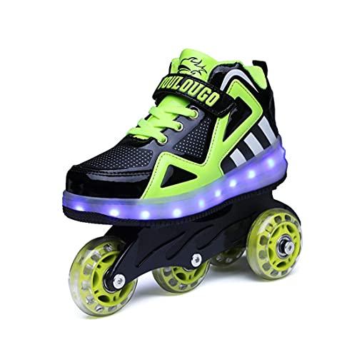 ZXSZX LED Light UP sobre LOS Zapatos DE RODAMIENTO Cómodo Niños Superficie Niños Ciclos De Niños Doble Doble Patinaje Recargable para Niñas Niños,Schwarz-35