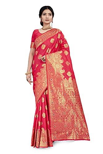 CLOTHAM Women's Banarasi Silk Saree With Blouse Piece (Wedding_Silk107_Parent)