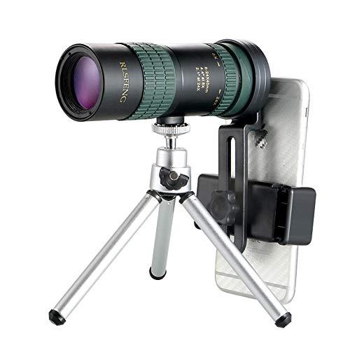 24 x 30 smartphone monocular telescoop verstelbaar zoom, nachtzicht, optische monokular, voor wandelen, camping, vogelkijker, zwart (kleur: zwart)