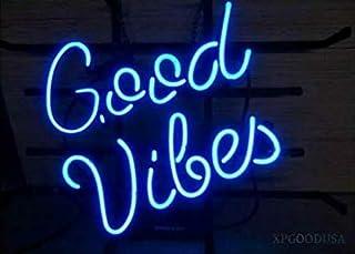 "XPGOODUSA Blue Good Vibes neon light sign- 17""×13"" bar signs for Home Bedroom Garage Neon Decor Wall Window Neon lights, Striking Neon Lights for Bar Pub Game Room"