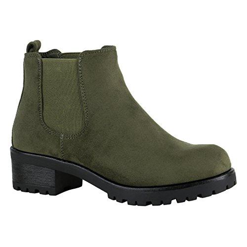 Damen Chelsea Boots Blockabsatz Plateau Stiefeletten Leder-Optik Schuhe 149629 Dunkelgrün Velours 36 Flandell