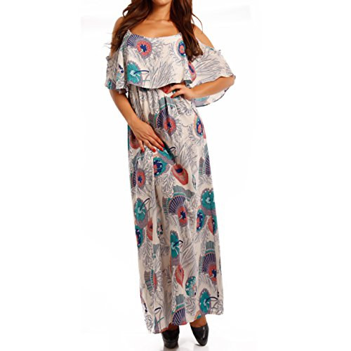 Young-Fashion Damen Hippie Maxikleid Bohemian Bodenlanges Kleid Strandkleid Carmen Ausschnitt mit Volant, Farbe:Mehrfarbig/Model3;Größe:M/L = 34/36