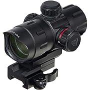 UTG Leuchtpunktvisier 4.2 Zoll Ita Red/Green Dot Sight with Riser Adaptor, Qd Mount und Flip-Open Lens Caps, Schwarz, SCP-DS3840W