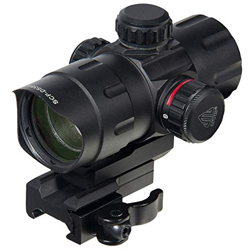 UTG Leuchtpunktvisier 4.2 Zoll Ita Red/Green Dot Sight with Riser Adaptor, Qd Mount und Flip-Open Lens Caps, Schwarz, SCP-DS3840W