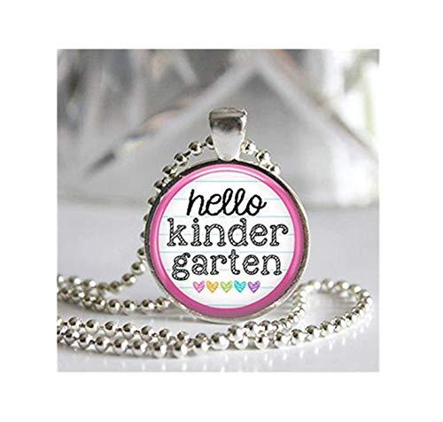 Hello Kindergarten Anhänger Glasfliese Silber Lünette Halskette Back to School Schmuck wählen Sie Ihre Farbe