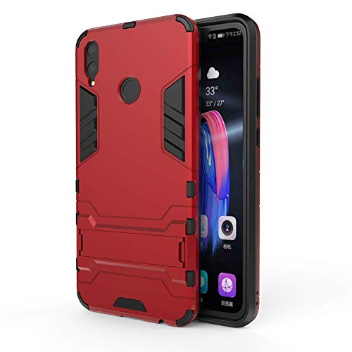 Huawei Honor 8X Hülle, MHHQ Hybrid 2in1 TPU+PC Schutzhülle Rugged Armor Case Cover Dual Layer Bumper Backcover mit Ständer für Huawei Honor 8X -Red