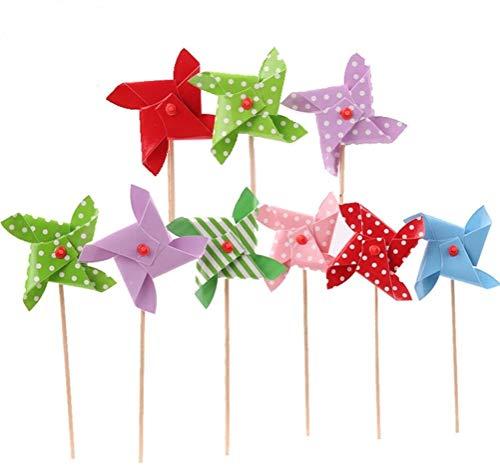 TOYMYTOY 18 stücke Windmühle Kuchen Topper Mini Pinwheel Cupcake Picks Geburtstag Party Kuchen Dekoration
