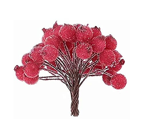 Nicejoy Artificial Christmas Berries Artificial Christmas Red Berries Diy Mini Christmas Frosted Berries Suitable for Wedding, Party, Home, Office Decoration Red 200pcs.