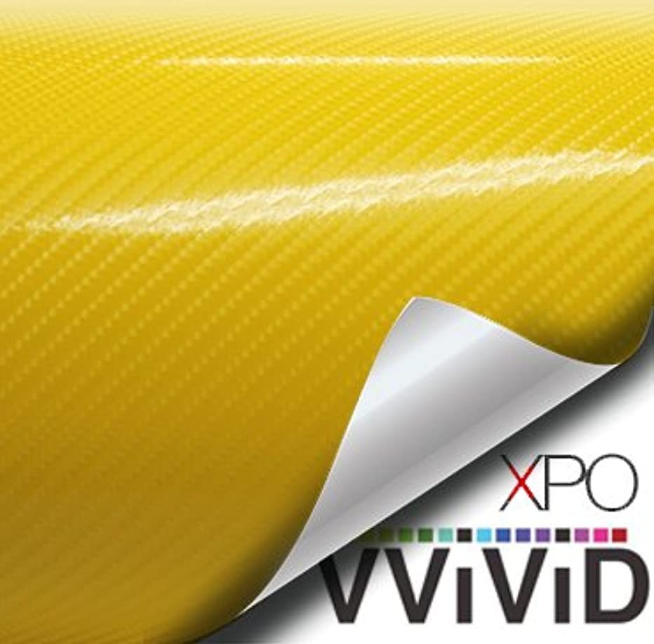 VViViD XPO Yellow 3D Carbon Fiber 5ft x 1ft Vinyl Wrap Roll with Air Release Technology