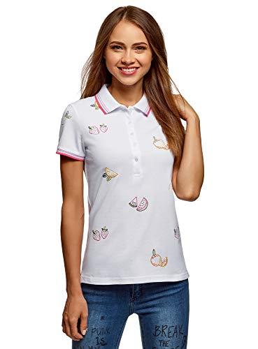 oodji Ultra Damen Pique-Poloshirt mit Stickerei, Weiß, DE 40 / EU 42 / L
