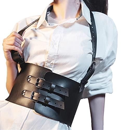 NMJKH Corsés de cuero para mujer, correas de pecho de moda para mujer, sostenes caseros, tirantes, cinturones anchos, cinturones (Color : A, Size : One Size)
