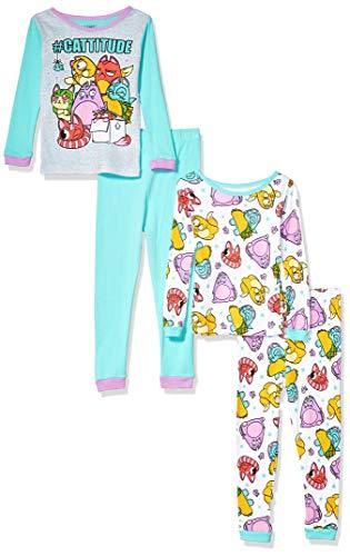 Lost Kitties Conjunto de Pijama de algodón de 4 Piezas para niñas, Cattitude, 6