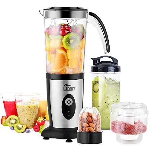 Blender Food Processor, Uten Small Mini Portable Smoothie Maker and Mixer Family Personal Blender for Milkshake, Fruit Vegetables Drinks, Ice, 5 Piece Set