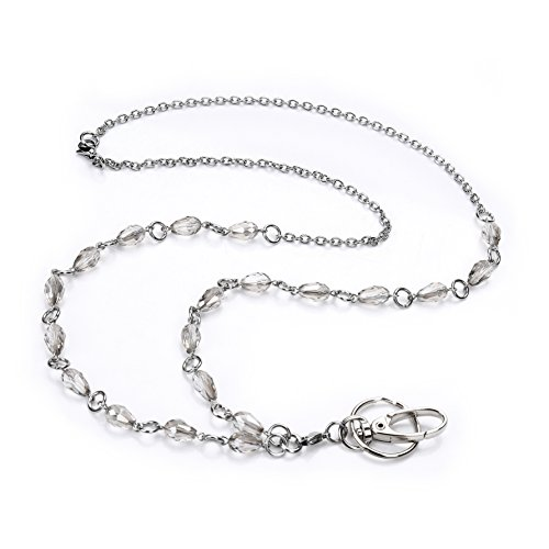 LUXIANDA Delicate, Elegant Beads Lanyard for Nurse, Teacher and OL , with Stainless Steel Chain Unique Design Office Lanyard for ID Keys, Badge Holder