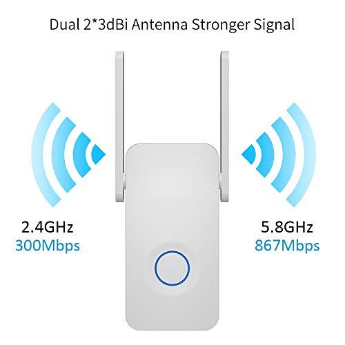 SJUAN Booster inalámbrica, Potente Doble Banda 1200Mbps WiFi Extender la señal Enhancer repetidor inalámbrico de 2,4 GHz 5 GHz Wi-Fi Extensor de Alcance de la Antena