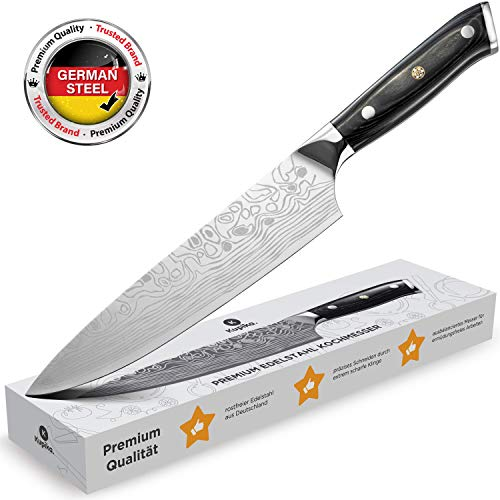 Kupika ® - Kochmesser 20cm Klinge - [Premium Allzweck-, Gemüse- & Fleischmesser] - scharfes Küchenmesser aus Edelstahl - Chefkoch Messer zum Kochen in Perfektion (20 cm)