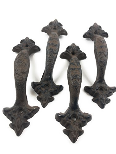 Set of 4 Cast Iron Large & Fancy Antique Replica Drawer Pull/Barn Handle Shabby Chic Vintage Crafts and Decor (Antique Brown/Black)