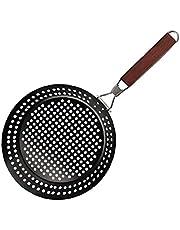 sevenjuly BBQ stekpanna rostfritt stål grill bricka med fällbart handtag svart