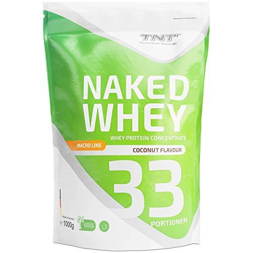 TNT Naked Whey + Laktase – 1kg Whey Protein Konzentrat – Eiweißpulver mit toller Löslichkeit & Geschmack – Proteinpulver (Cocos)