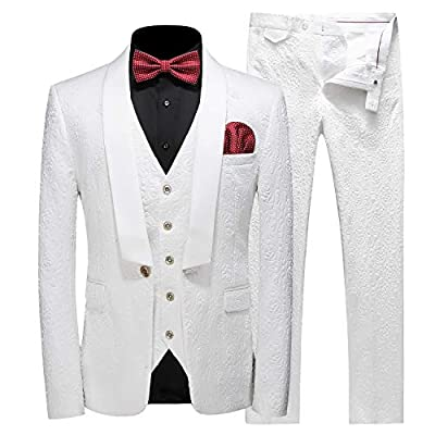 MOGU Mens New Casual Slim Fit Skinny Dress Suits 3 Piece US Size 36 (Label Asian Size XL) White by