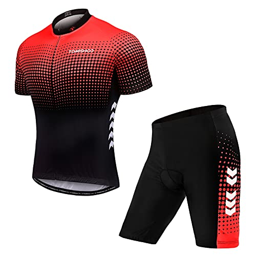 TOMSHOO Abbigliamento Ciclismo, Completo Ciclismo Uomo, Set di Maglie da Ciclismo Primaverili ed Estive, Pantaloni da Ciclismo con Cuscini Imbottiti 4D