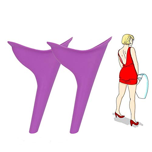 Female Urination Device Womens Outdoor Standing up Pee Silicone Funnel Reusable urinals,Camping Portable Lady Emergency Urine Toilet 2pcs