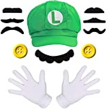 Super Luigi Mütze + 2X Handschuhe + 7X Bart + 2X 38mm Knöpfe gelb Kostüm für Fasching Karneval...