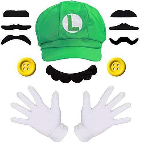 Super Luigi Mütze + 2X Handschuhe + 7X Bart + 2X 38mm Knöpfe gelb Kostüm für Fasching Karneval Köln Cosplay Mario für Kinder Damen Herren