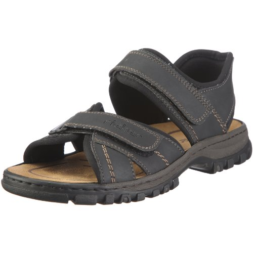 Rieker Herren Sandalen 25051, Männer Trekking Sandalen, Sport-Sandale Profilsohle doppelklett-Verschluss Maenner,schwarz/schwarz / 01,43 EU / 9 UK