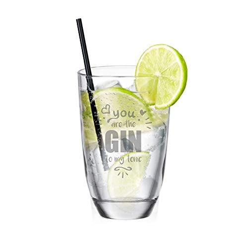 Gin - Glas • You Are The Gin to My Tonic • lustige Geschenkidee für Partner - Geschenkidee zum Valentinstag - Gin-Tonic - für sie und ihn - Longdrink - für Gute Freunde