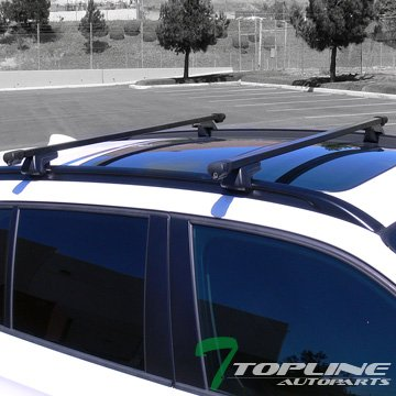 Topline Autopart Universal 52' Square Style Aluminum Roof Rack Rail Cross Bars with Adjustable Clamps (Black)