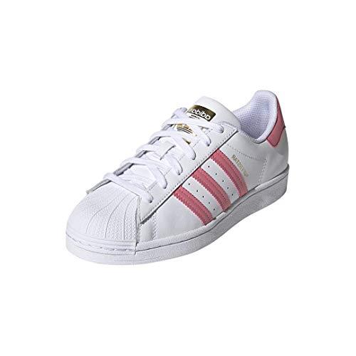 adidas Originals Women's Superstar Shoes Sneaker, White/Blue Oxide/Gold Metallic, 11