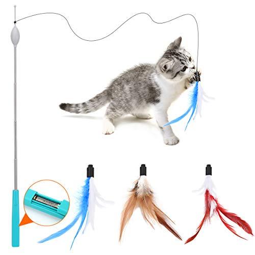 Pawaboo Elektrisch Interaktiv Katzenspielzeug, Einziehbar Katzenangel mit 3 Ersatz Angelköder aus Feder und Glocke, Automatisch Drehbar Schnur Feder, Federspielzeug für Katze Kätzchen Kitten Spaß