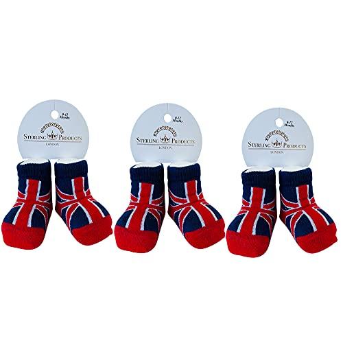 Sterling Product Premium 3 Pares de Calcetines para Botas de bebé de algodón Fino, Black, One Size (Pack de 3) Unisex Niños