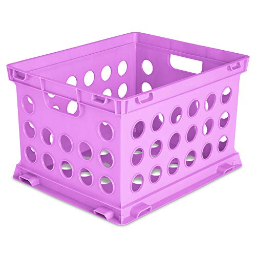 Sterilite 16938W12 Home Office Garage Plastic Stackable Storage Bin File Crate Box, Fits Letter and Legal Sized Hanging Folders, Pink (12 Pack)