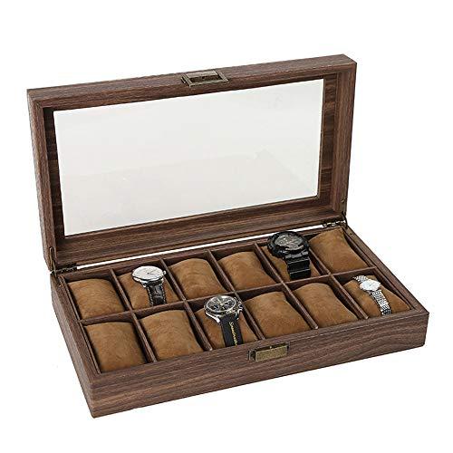 XINGBAO Pu Leather Multi-Position Watch Box, Wooden Jewelry Storage Box, Window Glass Display Box,Brown(12)