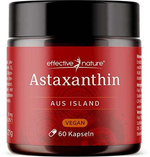 effective nature - Vegane Astaxanthin-Kapseln - Entwickelt und Produziert in Island - Hochdosiert mit 8 mg Astaxanthin pro Tagesdosis - 60 Stück