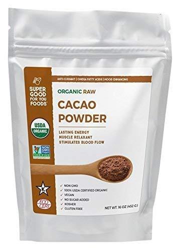 Super Good For You Foods USDA Certified Organic Raw Cacao Powder | Gluten-Free, Non-GMO, Vegan, No Sugar Added, Kosher, 16 oz
