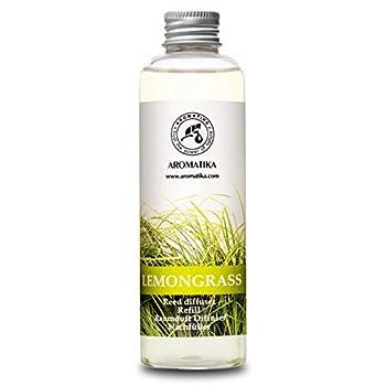 Lemongrass Reed Diffuser Refill Natural Essential Lemongrass Oil 6.8 oz - Fresh & Long Lasting Fragrance - 0% Alcohol - Best Reed Diffuser Oil Refill for Aromatherapy - Home - Office - Restaurant