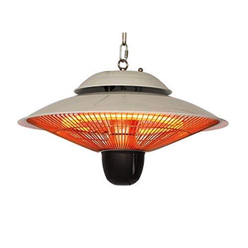 Calentador de patio al aire libre, 3 ajustes de potencia, silencioso, impermeable, disipación de calor y calentador halógeno de suspensión rápida, adecuado para jardín, oficina, vestíbulo, bar, etc.