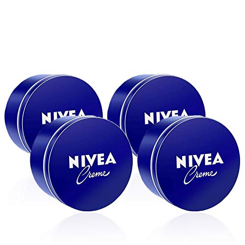 NIVEA Creme en pack de 4 (4 x 250 ml), crema hidratante corporal y facial para toda la familia, crema universal para una piel suave e hidratada, crema multiusos