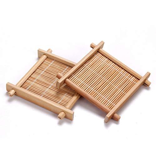 ACAMPTAR 6 Stücke/Charge Bambus Tee Tasse Polster Untersetzer Holz Achterbahn Tee Set Küchen Zubeh?r Tisch Set Becher Halter Besteck Topf Matte Isolier Platte