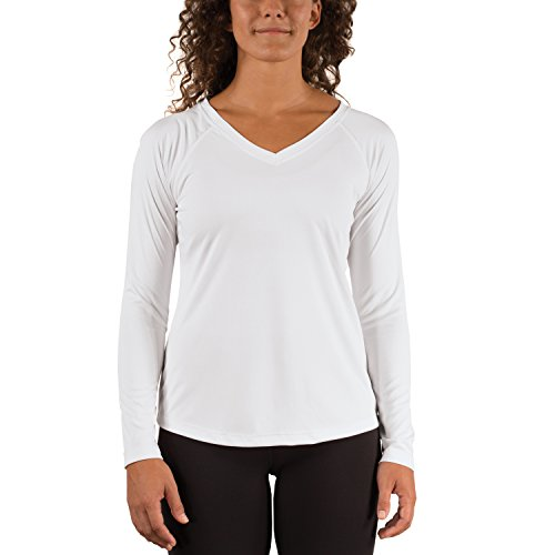 Vapor Apparel Women's V-Neck UPF 50+ Sun Protection Outdoor Performance Long Sleeve T-Shirt Large White Nebraska